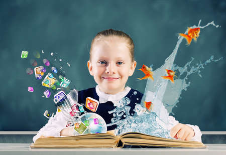 schoolkid search: Cute school girl with opened book and icon flying out