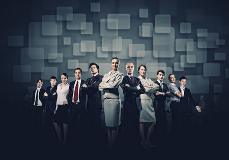 Image of business people group against conceptual background photo