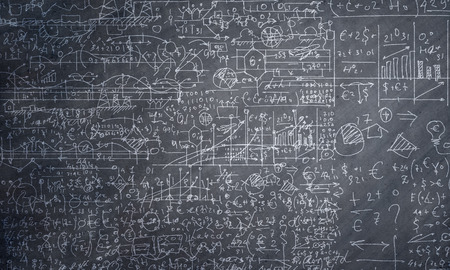 mathematic: Background conceptual image with business sketches on chalkboard Stock Photo