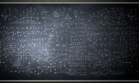 cartoon math: Background image of blackboard with science drawings Stock Photo