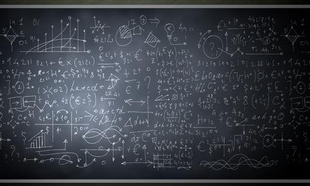 simbolos matematicos: Imagen de fondo de la pizarra con dibujos de ciencia