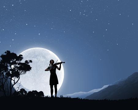 Silhouet van de vrouw het spelen viool in de nacht