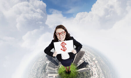 Top view of excited businesswoman holding banner with dollar sign photo