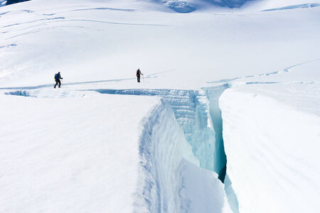 fox glacier: Group of people walking among snows of New Zealand Alps