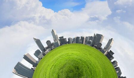 Urban landscape on green planet surface  Ecology idea photo