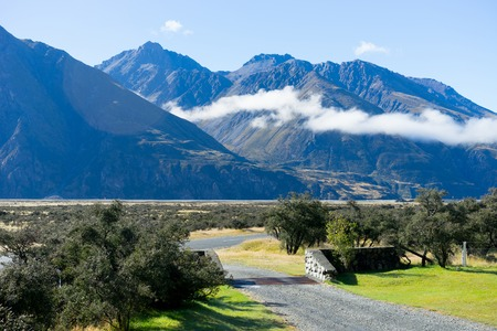 tramping: Beautiful natural landscape of mountains of New Zealand