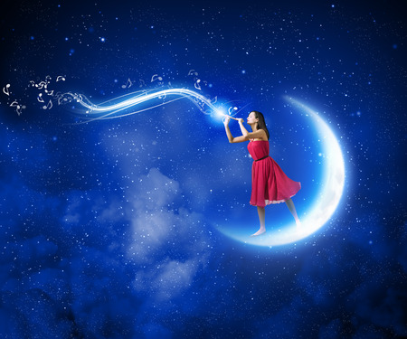 bondage girl: Young woman in red dress standing on moon and playing fife