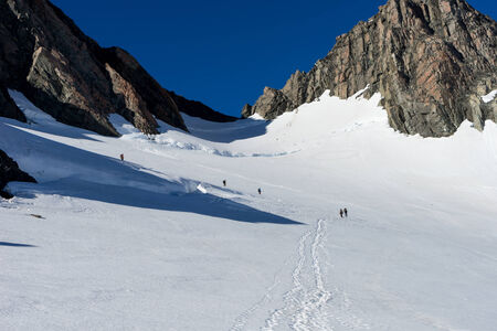 fox glacier: Group of people walking among snows of New Zealand mountains