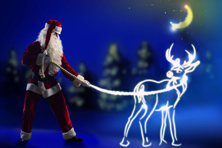 Santa Claus and christmas deer on lace photo