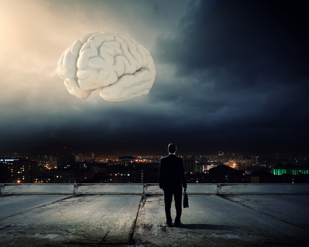 Rear view of businessman looking at big brain model photo