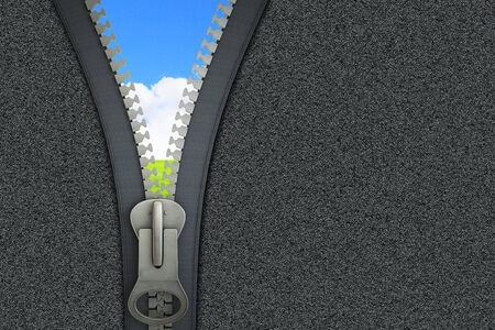Conceptual image with opening zipper and blue sky photo