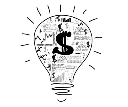 Conceptual image with drawn light bulb and business sketches photo