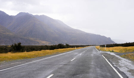 the footstool: Natural landscape of New Zealand alps and road