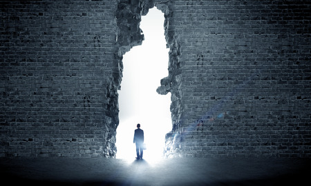 Silhouette of businessman standing in air gap