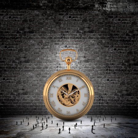 Big old-style pocket watch and many businesspeople around photo