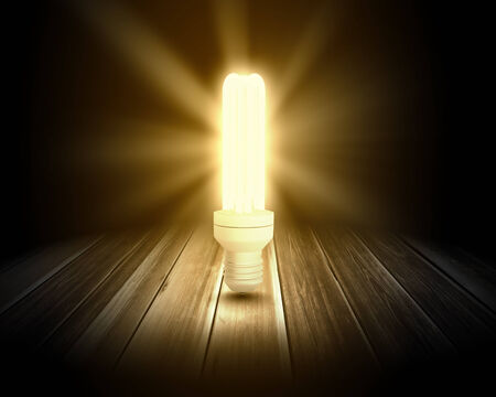 Conceptual image with light bulb and wooden surface photo