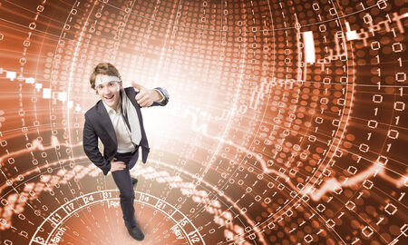 Young cheerful man with tie around head against binary background photo