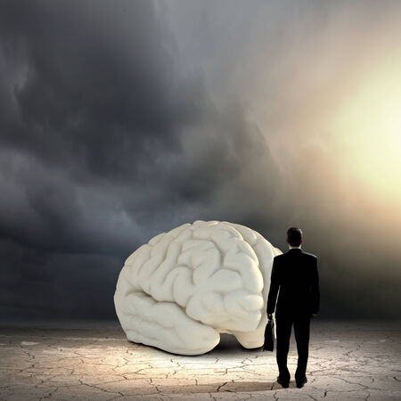 solver: Rear view of businessman looking at big brain model