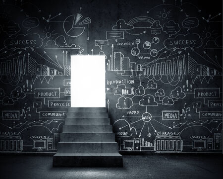 Background conceptual image with doorway and business sketches photo