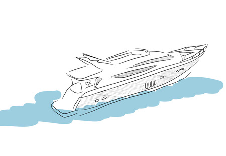 Hand sketch of boat on white background photo