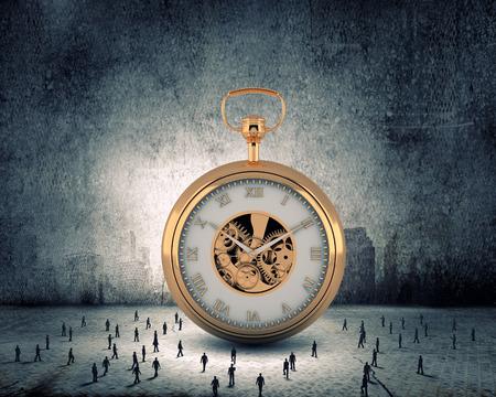 Big old-style pocket watch and many businesspeople around Zdjęcie Seryjne