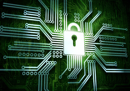 Conceptual image of micro circuit  Security concept photo