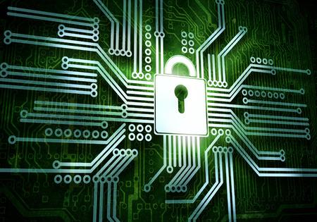 protegido: Imagen conceptual del concepto de Seguridad micro circuito