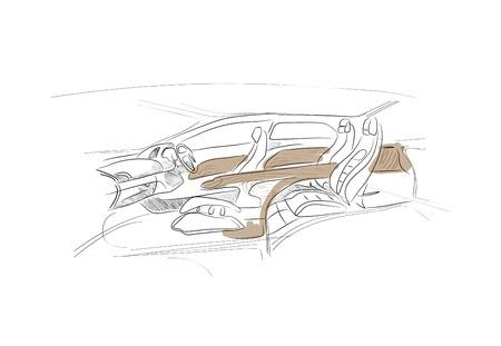 Bosquejo del interior del coche en el fondo blanco Foto de archivo - 30603762