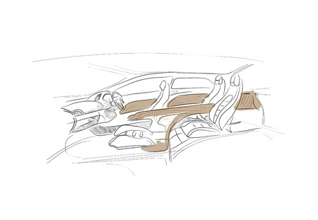 Sketch of car interior on white background