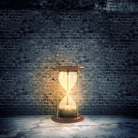 sandglass: Conceptual image with huge sandglass  Time concept Stock Photo