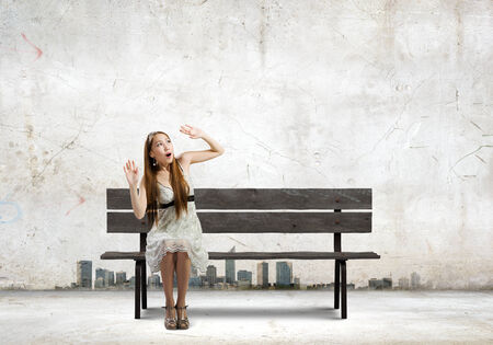 scarred: Asian pretty scarred woman sitting on bench