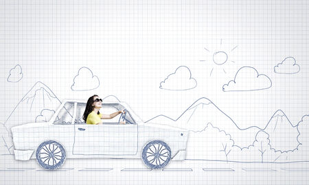 dream house: Young woman riding car made of list of paper