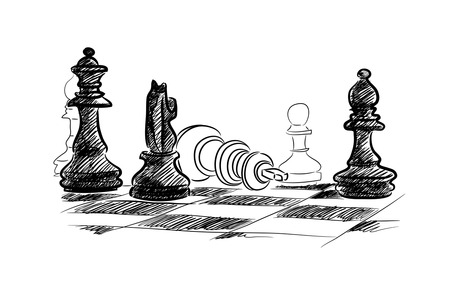 Conceptual sketch image with chess pieces on white background photo