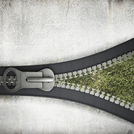 Conceptual image with opening zipper and green grass photo