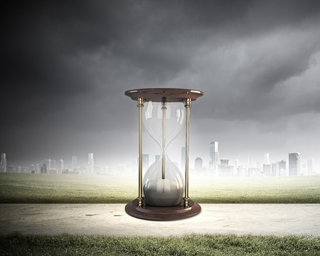 sandglass: Conceptual image with huge sandglass. Time concept