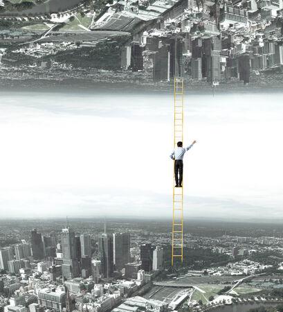 Businessman standing on ladder between two realities
