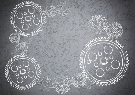 Background conceptual image with sketches of cogwheels photo