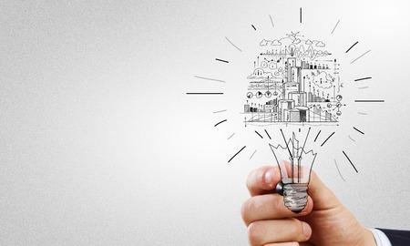 実業家の手図面ビジネス戦略スケッチのクローズ アップ 写真素材