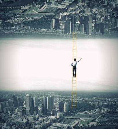 Businessman standing on ladder between two realities Reklamní fotografie