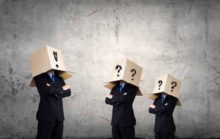 reproach: Business people with carton boxes on head