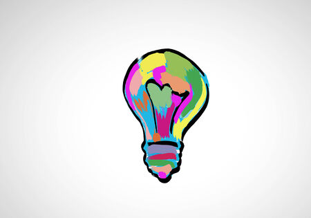 Conceptual image with light bulb drawn in colors photo