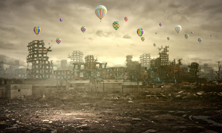 highrise: Conceptual image of ruins of destroyed city Stock Photo