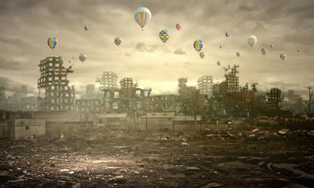 Image conceptuelle de ruines de la ville détruite Banque d'images