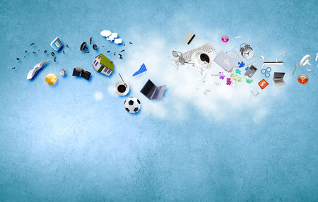 Background image with conceptual items flying in air
