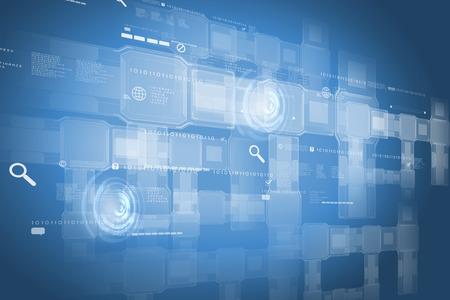 タッチのアイコンと背景画像。革新的な技術