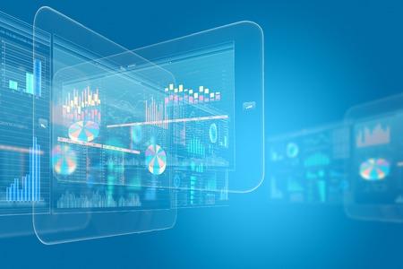 터치 아이콘과 배경 디지털 이미지. 혁신적인 기술