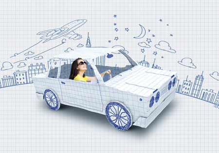people travelling: Young woman riding car made of list of paper