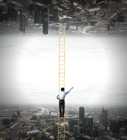 goal oriented: Businessman standing on ladder between two realities