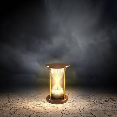 hour glass figure: Conceptual image with huge sandglass. Time concept