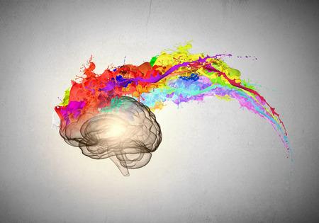 Conceptueel beeld van menselijke hersenen in kleurrijke spatten